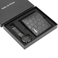 men watches leatherstainless steel watch band business men genuine wallet gifts set for husband dad relogios masculino
