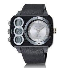 OHSEN numérique Quartz hommes grand cadran Sport montre relogio masculino 50M étanche double temps Silicone mâle mode montres