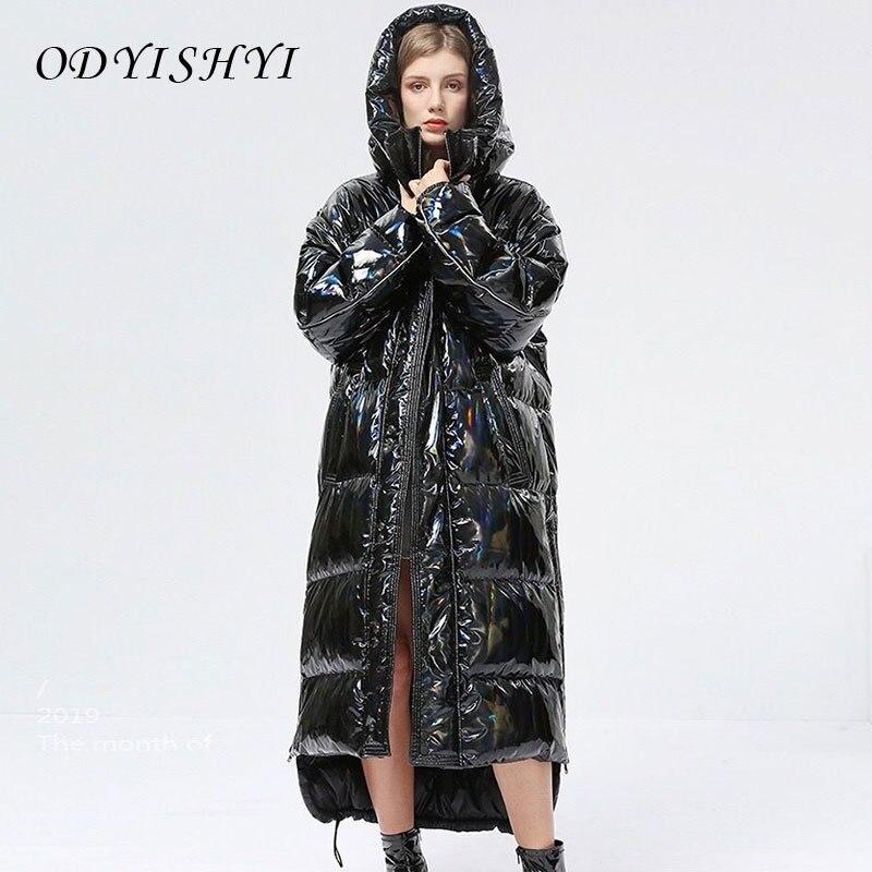 Толстая зимняя женская куртка-пуховик с защитой от холода, модное блестящее пальто на белом утином пуху, парка с капюшоном, теплая Женская д...