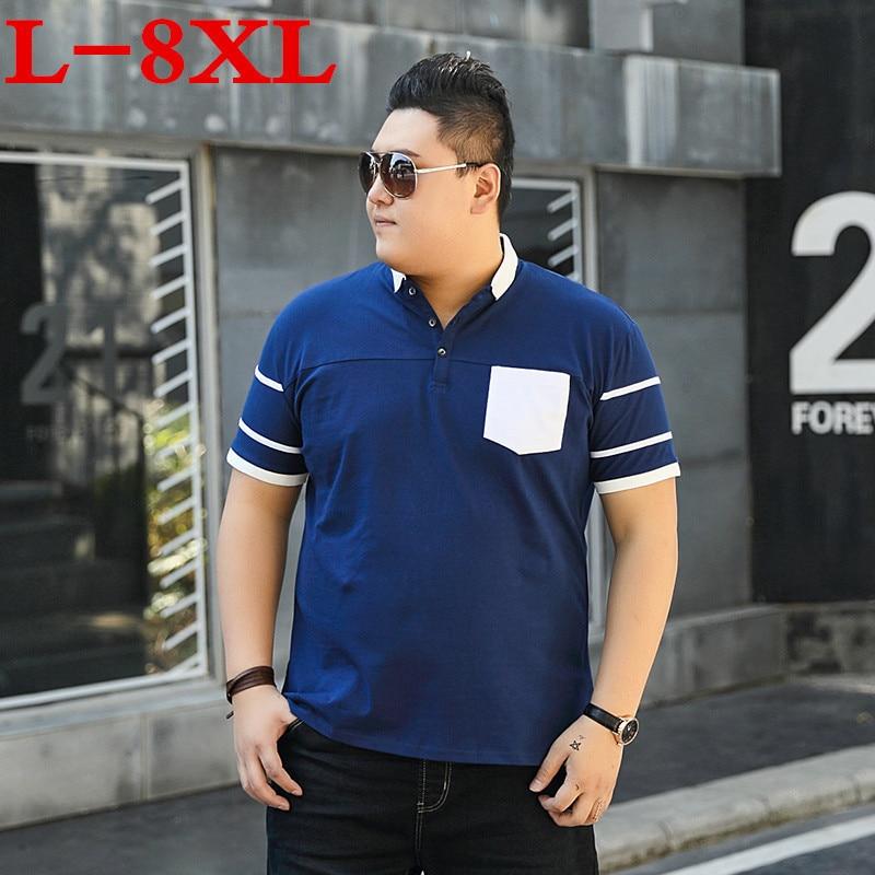 9XL 10XL 8XL de talla grande para hombre polos sólidos de manga corta de ajuste suelto para hombre Camisa bordada para hombre polos Camisas Casual Camisa