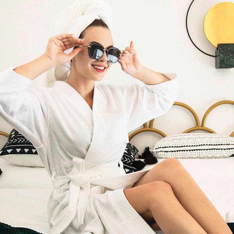 منشفة بيضاء رداء حمام ناعم القطن ملابس نوم النساء حمام الصلبة رداء النوم فستان الشتاء كيمونو رداء النوم ملابس المنزل