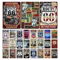 america famous route 66 sign retro poster vintage metal tin sign souvenir plaque home bar club decorative wall art iron plate