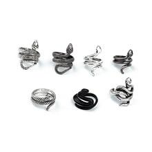 Bague serpent Punk rétro pour hommes femmes couleur argent design Unique couleur ouverture anneaux réglables