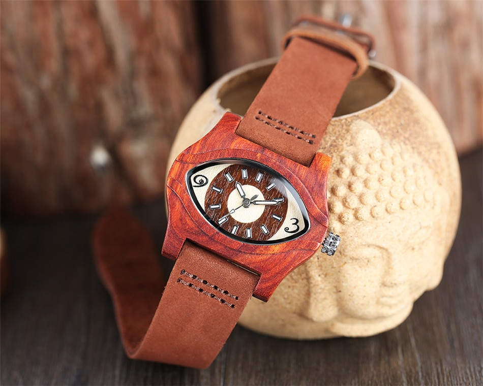 REDFIRE Turkish Evil Eye Shape Wood Watch Women's Red Genuine Leather Quartz Wristwatch Ladies Creative Fashion Wooden Clock enlarge