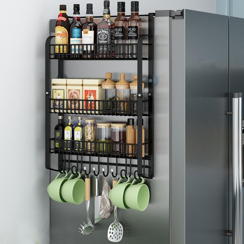 الثلاجة الجانب تخزين الرف خزانة منظم سلة المطبخ خزانة الفضاء إنقاذ الثلاجة رف تخزين معلق