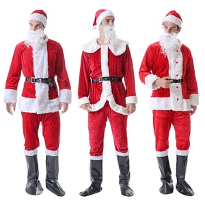 6pcs/set Santa Claus Costume Christmas Cosplay Suit Festival Clothes Coat Pant Hat Beard Belt Shoes Outfits for Adults Xmas Gift