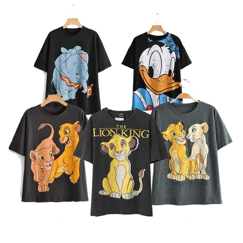 Za cotton T-shirt Women 2020 Summer Fashion Style Cartoon mini mouse Lion King Print O-neck Short Sleeve T-shirt Female Tops