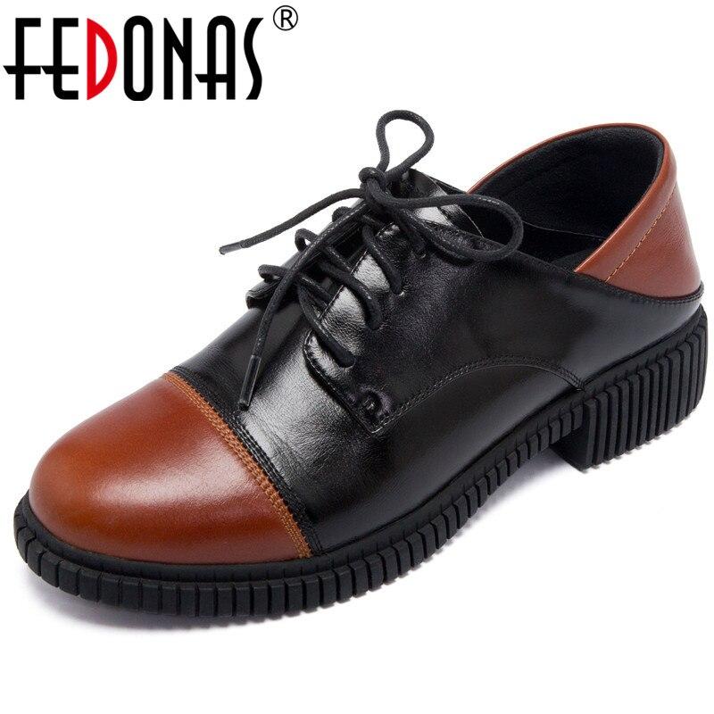 Фото Женские туфли лодочки FEDONAS повседневные из натуральной кожи смешанных цветов на