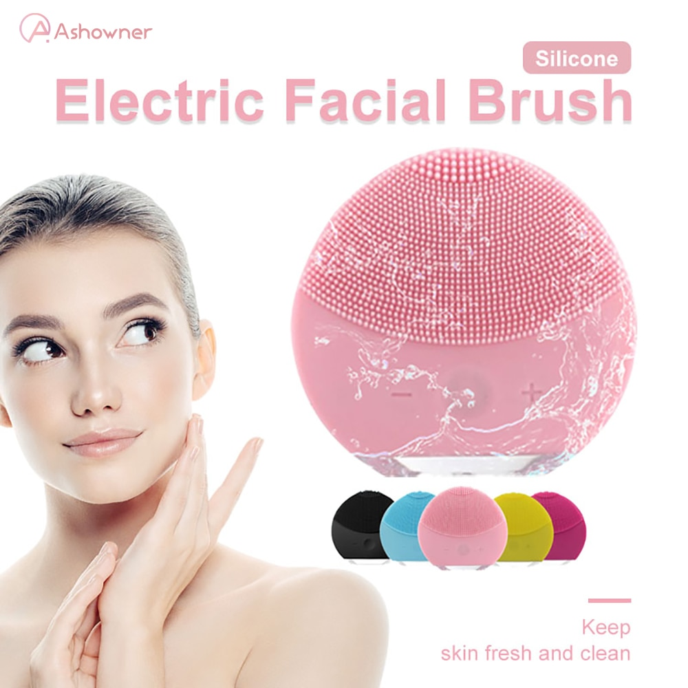 Electric Silicone Facial Cleansing Brush Ultrasonic Vibration Pore Skin Care Brush Washer Blackhead Cleansing Massager for face недорого