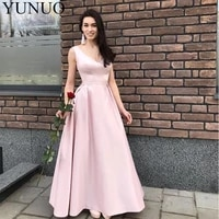 a line baby pink evening dresses v neck sleeveless formal evening party dresses long vestido de fiesta de graduacion prom gowns