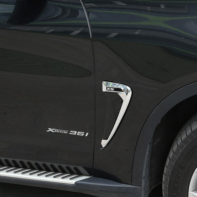 For BMW X5 F15 X5M F85 2014-2018 ABS Chrome/Black/Carbon Fiber Car Shark Gills Side Fender Vent Stickers Car Accessories