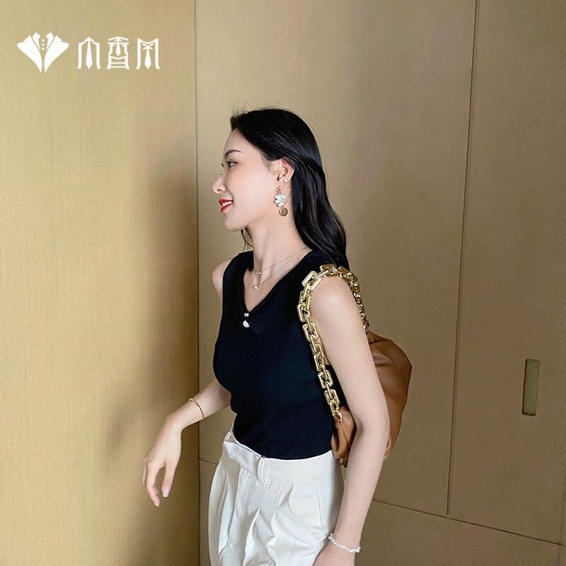 Xiaoxyangfeng الحرير الجليد الحمالة سترة الإناث شيا سليم صالح أكمام قاع داخل وخارج ارتداء تريكو قصيرة رقيقة