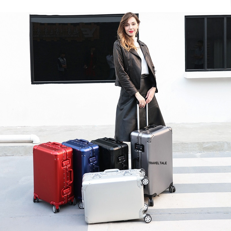 """Carrylove 20 """"24"""" 26 """"29 polegada spinner alumínio mala de viagem caso do trole da marca luxo cabine bagagem sobre rodas"""