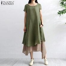 Mode femmes dété Robe dété ZANZEA 2020 casual Robe asymétrique manches courtes mi-mollet Vestidos femme couches Robe 2 pièces