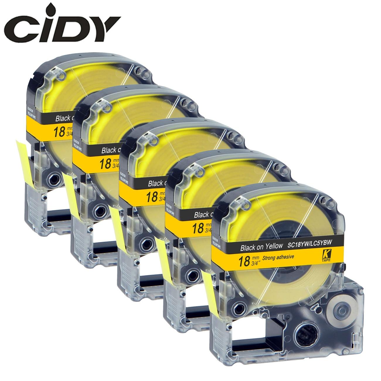 CIDY 5 шт. SC18YW/LC5YBW LC-5YBW9 совместимая с kingjim 18 мм черная на желтой этикетке лента для Epson машины LW300 LW400 LW-600P