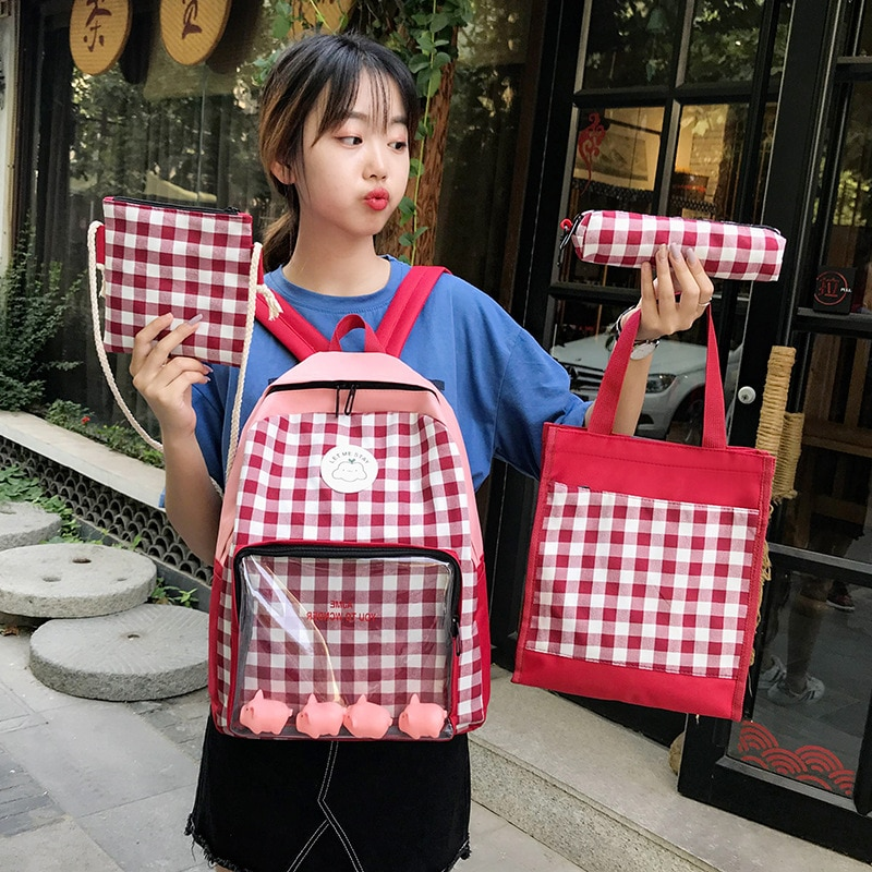 Фото - Ins bag female campus junior high school students canvas shoulder bag antique four-piece backpack 2021 new 2021 four piece set primary school students grade 3 6 junior high school students color contrast backpack hand bag fashion