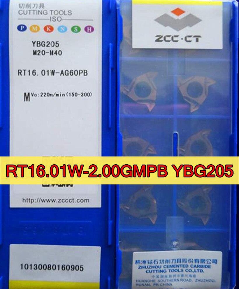 RT16.01W-2.00GMPB YBG205 10 unids/set = 16ER 2.0ISO 100% original ZCC.CT insertar YBG205 = M20-M40 procesamiento acero inoxidable