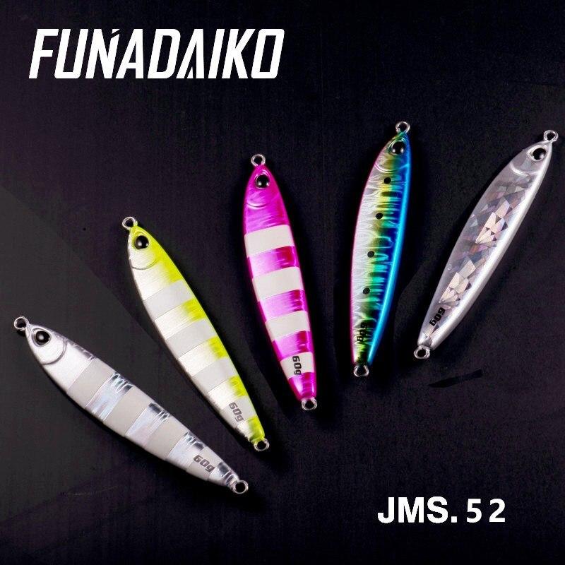 Funadaiko 5PCS Metal Jig Jig Colher Isca Elenco 80 60G G 100G Artificial Isca Jigging Costa Lento mar Iscas De Pesca Equipamento De Pesca