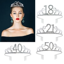 18 21 30 40 50 Silver Crystal Rhinestone Tiara Princess Crown Girls Hairbands Accessories For Women