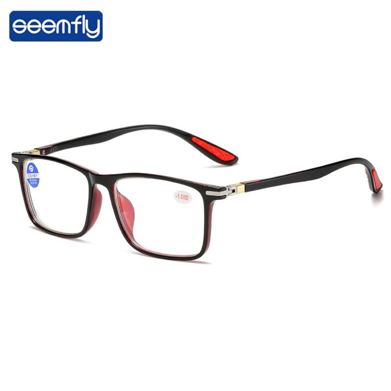 Seemfly ультра светильник анти-синий светильник очки для близорукости для женщин и мужчин квадратная оправа удобные готовые очки для близорук...