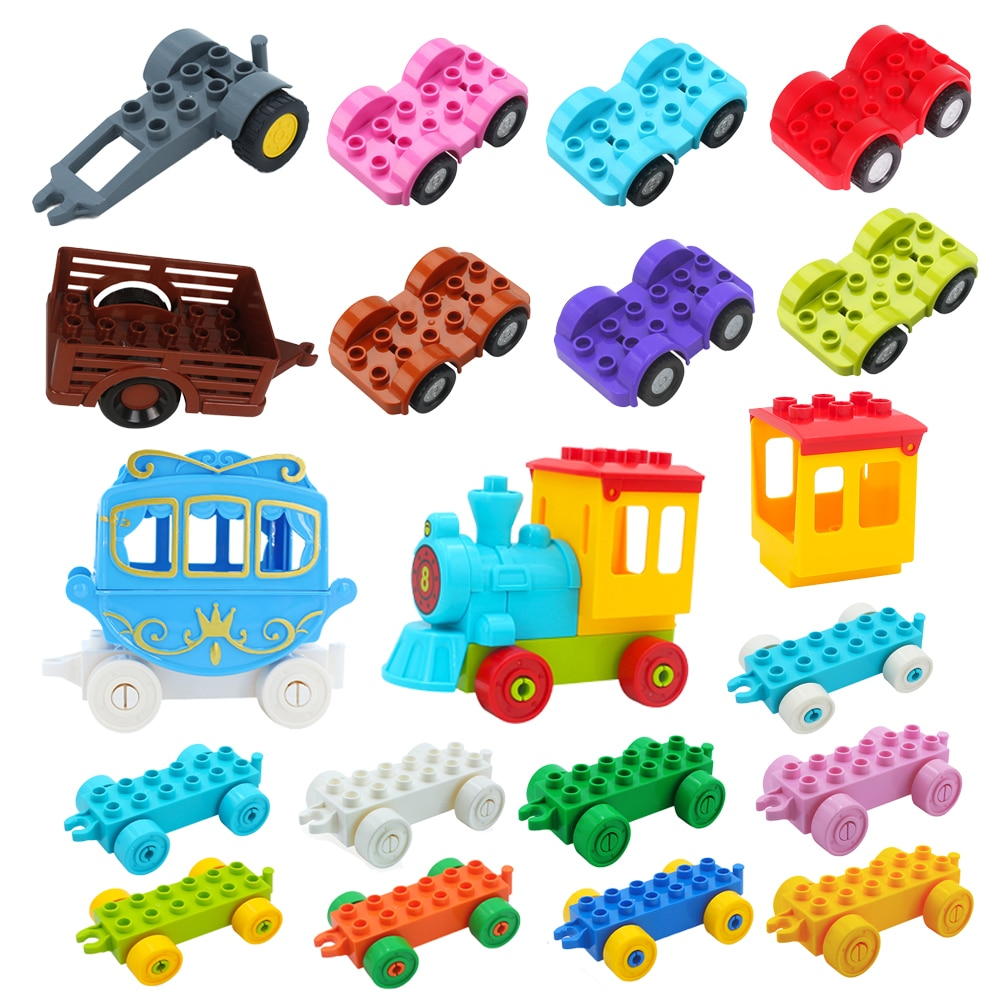 Big Building Blocks Traffic Vehicle Train Motorcycle Car Bottom Carriage Trailer Boat Bricks Accessory Toy Compatible with Duplo