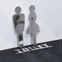 metal restroom toilet sign plate
