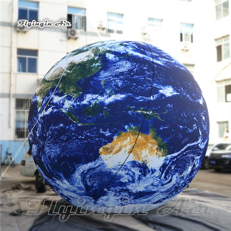 Globo inflable de globo con luz Led para decoración de fiesta de música, globo de tierra/Tierra, Planeta Azul, globo de aire soplado