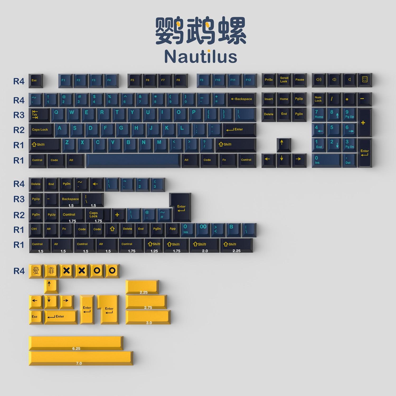 1 Set GMK نوتيلوس أغطية المفاتيح ABS مزدوجة النار Keycap الكرز الشخصي مفتاح قبعات مع ISO Enter 7U مفتاح المسافة لتخطيط HHKB الاتحاد الأوروبي