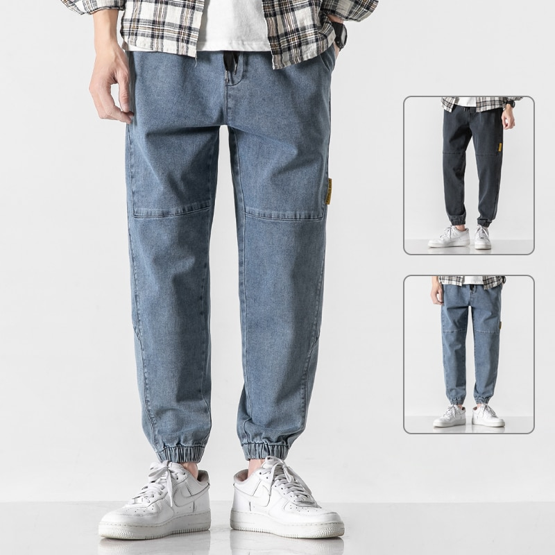 Men Baggy Jeans New Fashion Joggers Pants Hip Hop Ankle-Length Trousers Oversized Wide Leg Streetwea