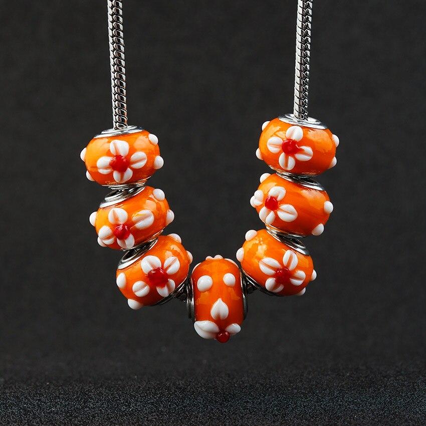 10 шт 3D цветок кристалл оранжевые стеклянные бусины подходят для Pandora Амулеты Браслет бусинки с большими отверстиями Сделай Сам Европейский ...