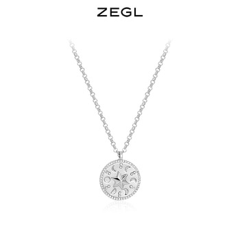 ZEGL Designer Model Retro Hexagram Necklace Women's Niche Design Simple Style Clavicle Chain 2021new