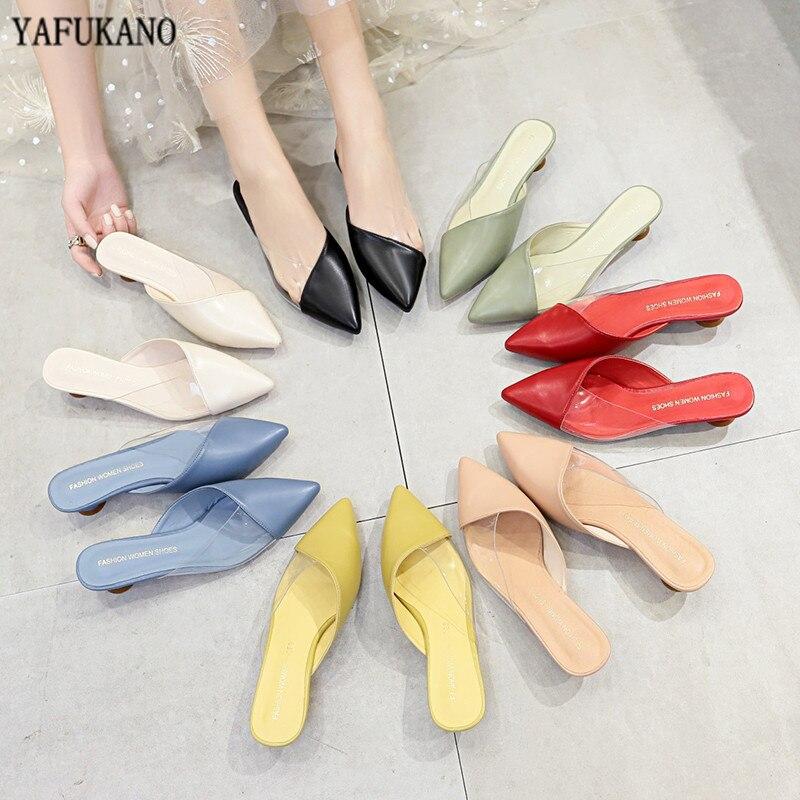 Zapatillas de tacón redondo de PVC transparente con punta estrecha, zapatillas Muller de verano 2020, sandalias deslizantes de tacón bajo de 3CM para mujer