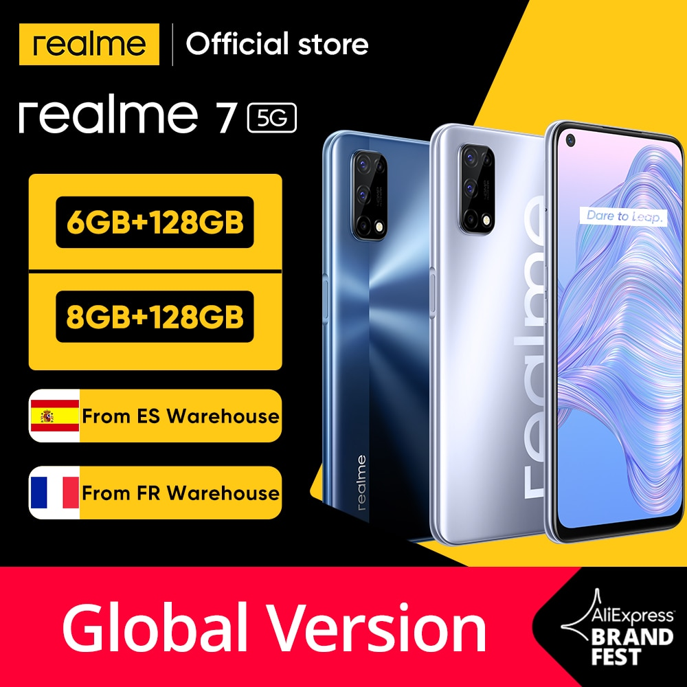 【Ship from France&Spain】realme 7 5G Dimensity 800U 6/8GB 128GB 120Hz Display 48MP Camera 5000mAh