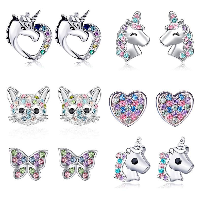 2021 New Fashion Unicorn Cat Butterfly Rainbow Stud Earrings Women Gilrs Colorful Zircon Ear Stud Je