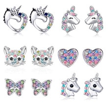 2021 New Fashion Unicorn Cat Butterfly Rainbow Stud Earrings Women Gilrs Colorful Zircon Ear Stud Je