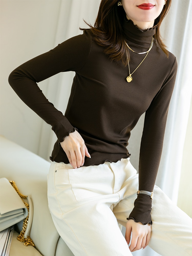 High end light luxury fairy pile neck or round new black technology mulberry silk heating Plush bottoming shirt