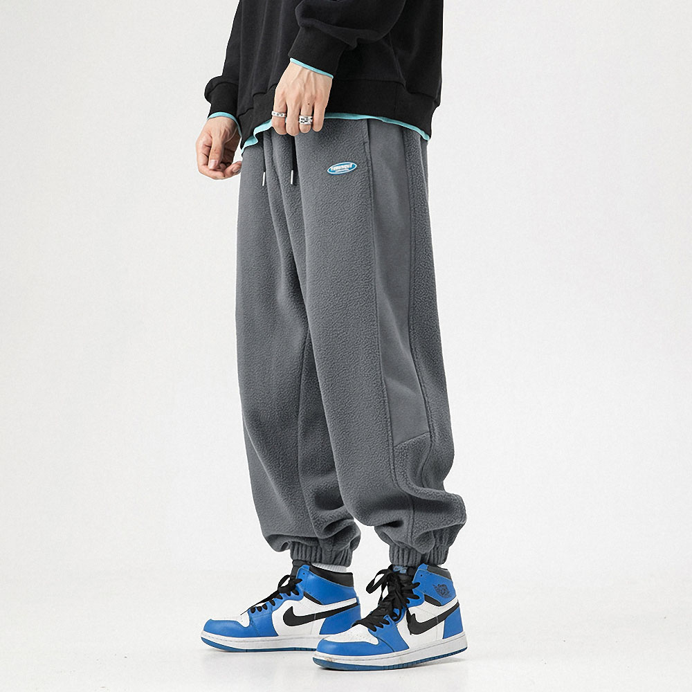 Thick Polar Fleece Sweatpants Men Letter Cotton Trousers Male Quality Loose Baggy Joggers Track Pants Fashion Hip Hop Streetwear