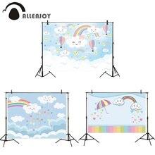 Allenjoy – ballons arc-en-ciel pour fête prénatale, arrière-plan de fête prénatale, banderole de photographie danniversaire pour enfant et nouveau-né