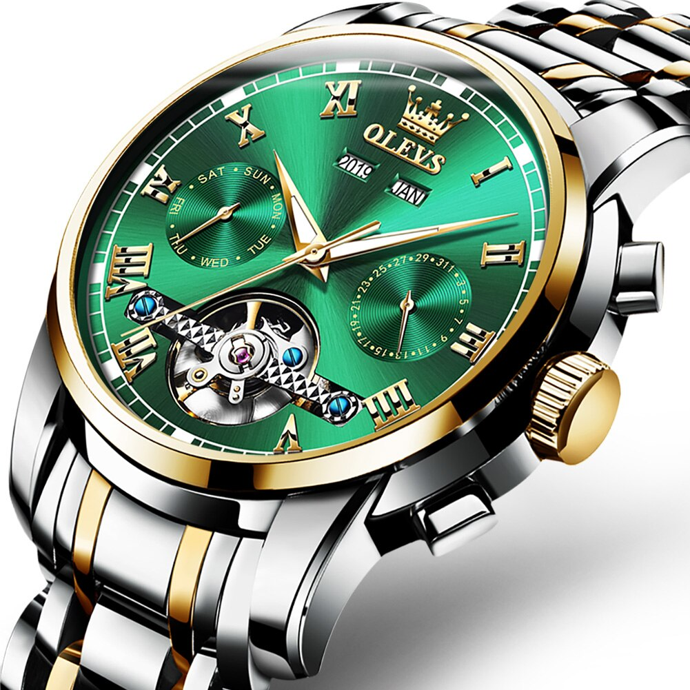 OLEVS Automatic Watch Men Top Brand Luxury Full Steel Sport Watch Casual Waterproof Men Tourbillon Mechanical Wristwatches 6607 enlarge