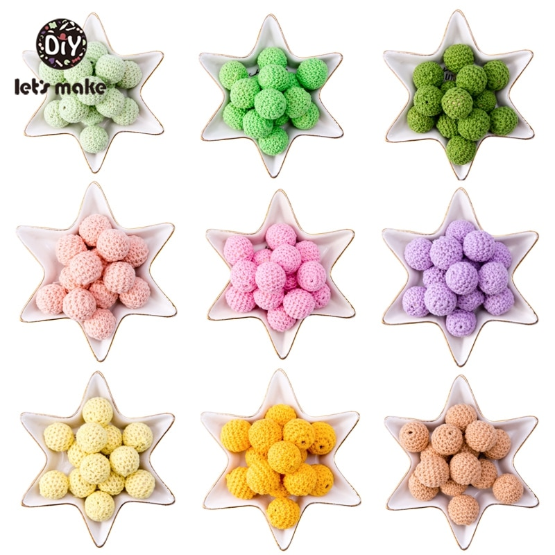 Let'S Make 20Mm 10Pc Wood Crochet Beads Chew Beads Diy Wooden Teether Pearl Beaded For Crib Toy Sensory Rattle Toy Baby Teether
