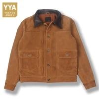 vintage mens autumn winter genuine leather jacket retro single breasted cow suede cargo coat man short casual flight jackets