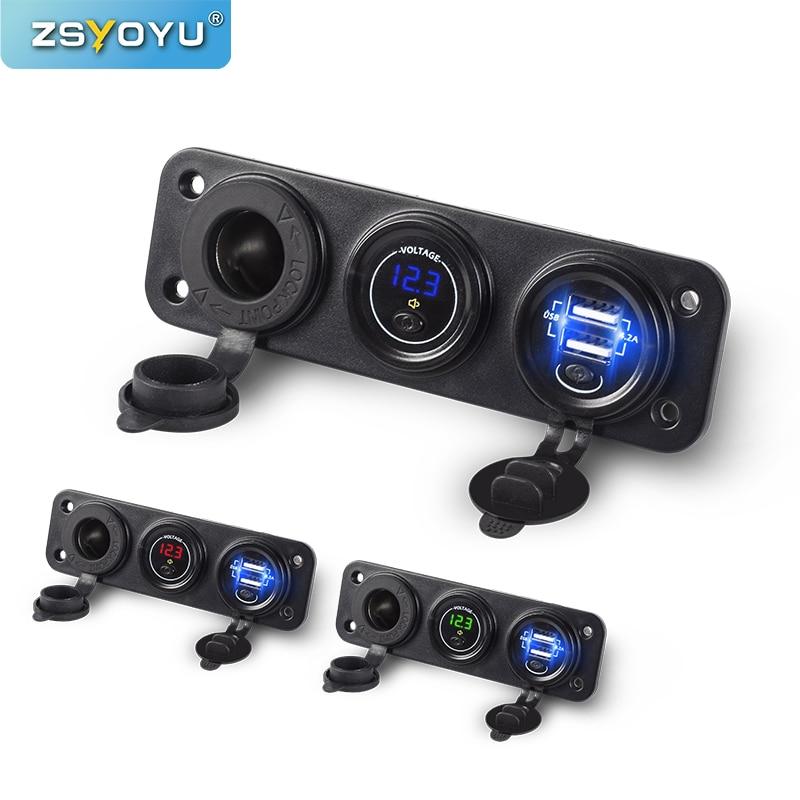 Multifunción de doble 24 12V cargador USB con voltímetro para el encendedor del coche toma USB del coche de bajo voltaje alarma de sonido independiente On/Off