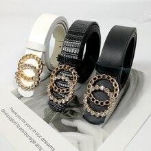 Shiny rhinestone belt ladies jeans belts for women high quality luxury brand G ceinture femme waist