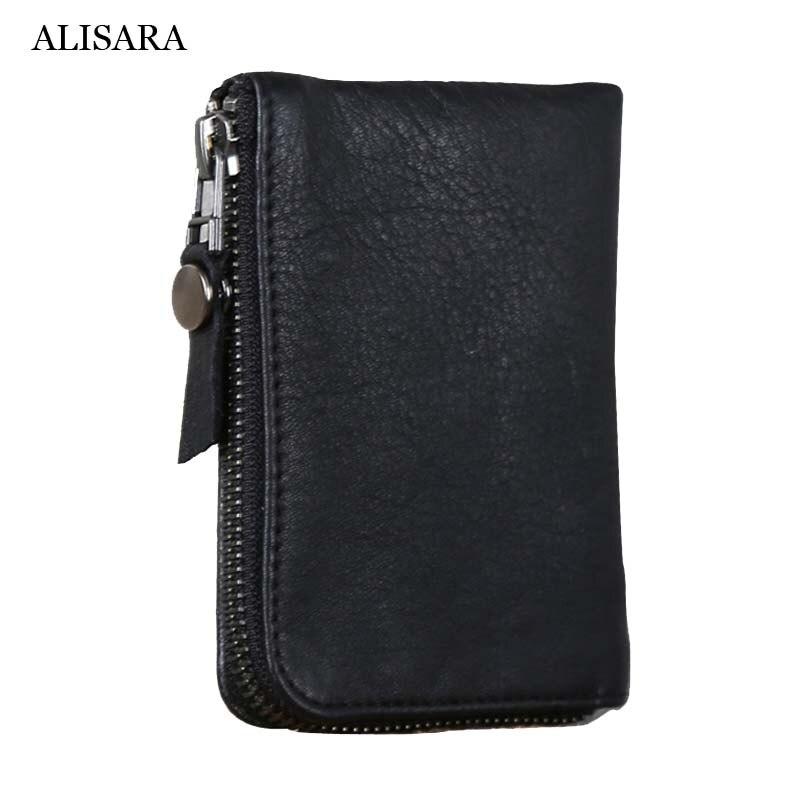 Alisara-محفظة صغيرة بسحاب للرجال والنساء ، محفظة بطاقات من الجلد الطبيعي الفاخر مع جيب من جلد البقر الناعم