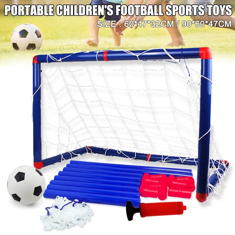 ¡Novedad! Juego de puerta de portería de fútbol portátil para niños, juego de pelota de fútbol para bebés con bombas para deportes de interior y exterior