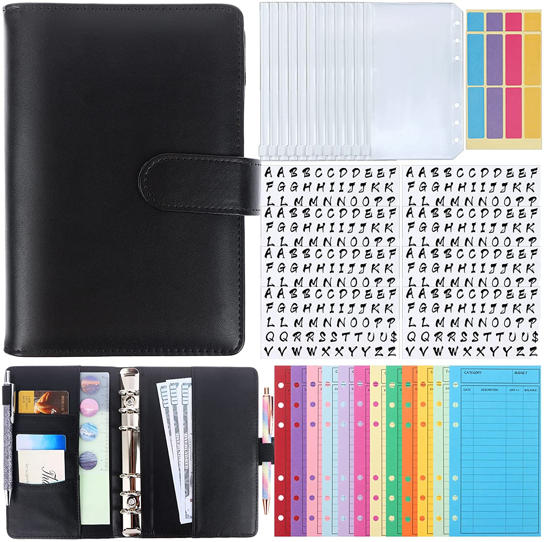 A6 PU Leather Cash Budget Organizer Binder for Money Planner, 12 Patterns Budget Money Envelopes, 12 PVC Storage Bag, 8 Sheets