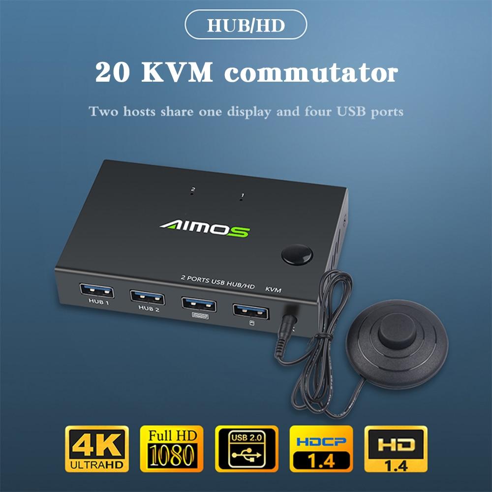 مفتاح ماكينة افتراضية معتمدة على النواة 2 منفذ صندوق حصة 2 أجهزة الكمبيوتر مع واحد مشاركة لوحة المفاتيح ماوس الطابعة 4K USB HDMI-متوافق مفتاح ماكي...