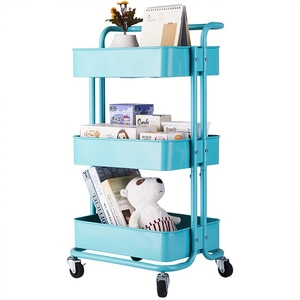 3-Tier Home Kitchen Storage Utility Cart Rack Shelf with Handle Turquoise/Black/White[US-Stock]