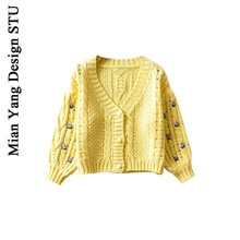Autumn and Winter Heavy Industry Crocheted Small Sweater Retro High Waist Girl Crocheted Sweater Ins