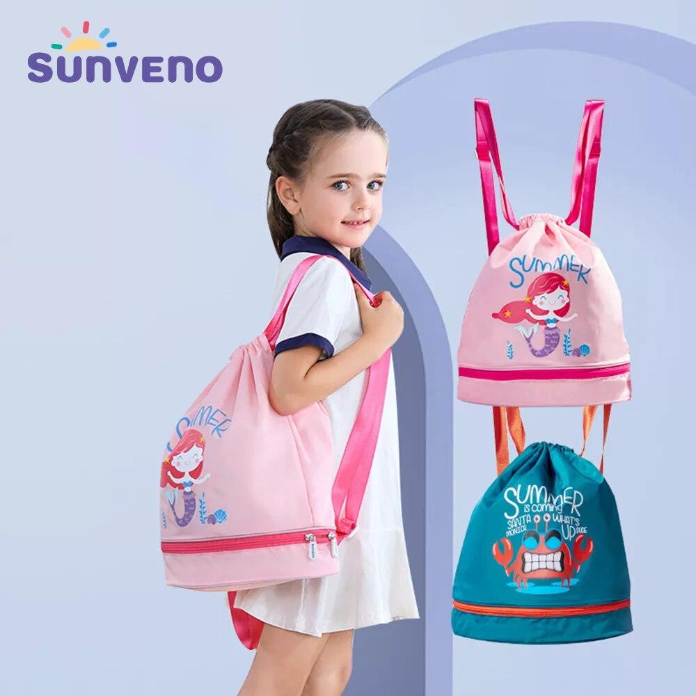 Sunveno حمام سباحة حقيبة الرطب/الجاف الطفل حقيبة أطفال السباحة بولي ايثيلين حقيبة ظهر برباط